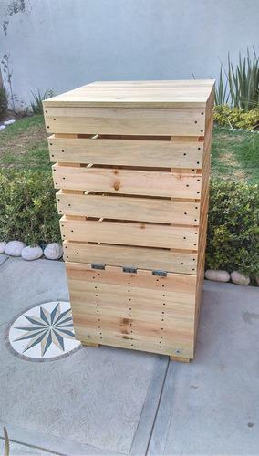 bote de madera para composta  80cmx45cmx45cm