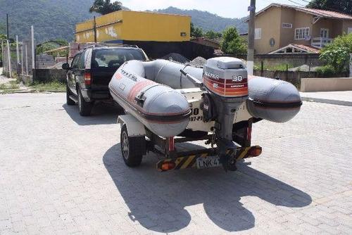 bote flexboat sr12, motor 30hp, com carreta rodoviária