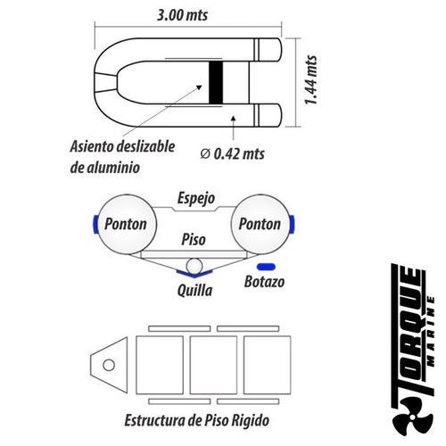 bote gomon piso de aluminio desarmable 3.00 m torque marine