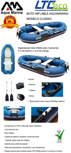 bote inflable aquamarina classic con espejo