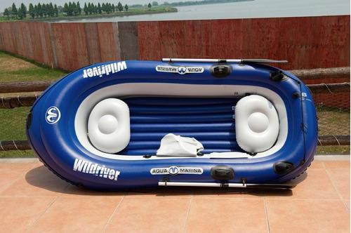 bote inflable deportivo aquamarina + motor + salvavida + kit