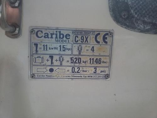 bote inflable marca caribe modelo c-9x con motor yamaha 15hp