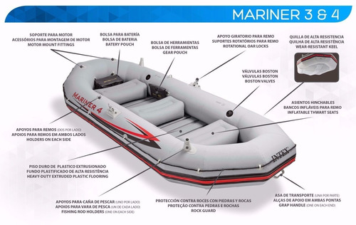 bote inflable mariner 4 kit completo rio mar inflador remos