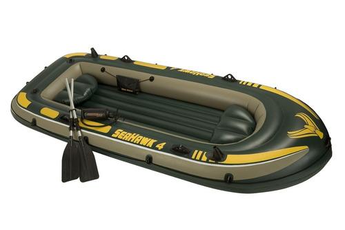 bote inflable seahawk 4p + remos e inflador intex 19591/9 mm