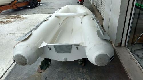 bote inflável 310  branco fundo rigido com remos fole, bolsa