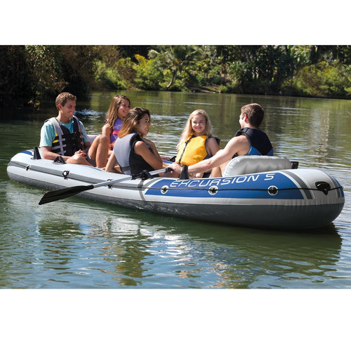 bote inflável intex excursion 5 600 kg par de remos bomba