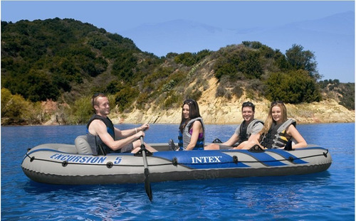 bote inflável intex excursion 5 remos bomba barco c/ suport