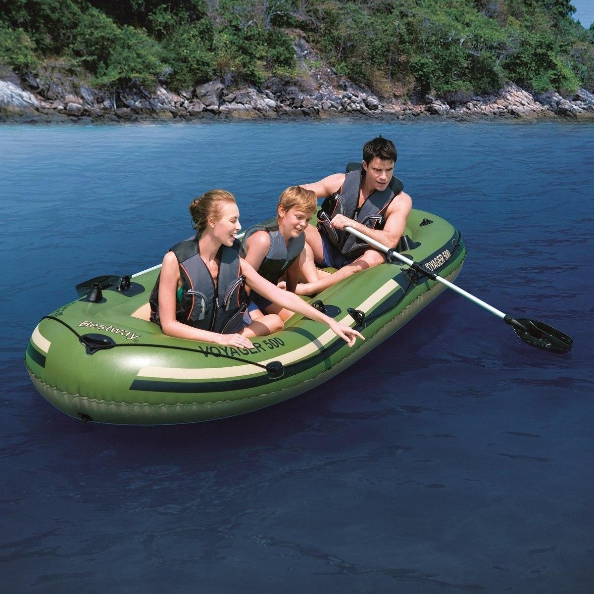 91a303e05 bote inflável voyager 3 p com remos e inflador elétrico 12v. Carregando  zoom.