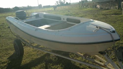 bote lagunero casco fibra vidrio 4 personas porta cañas