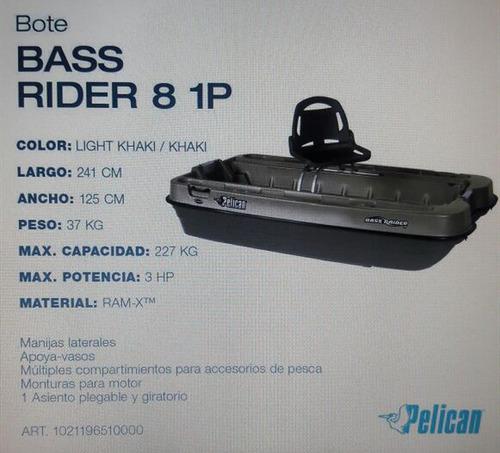 bote pelican bass rider 8 - importado de canada - nuevo