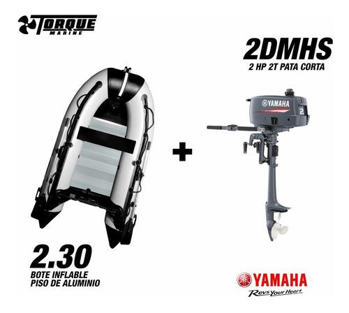 bote torque marine 2.30 m aluminio con motor yamaha 2hp 2t
