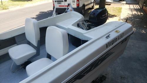 bote virgin marine 430 15 hp trailer acces. nautica milione