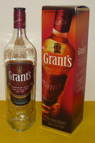 botella + caja carton grnat´s scotch wisky 1000 cc en perfec