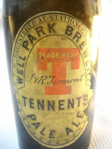 botella  cerveza well park brewer tennent. antigua