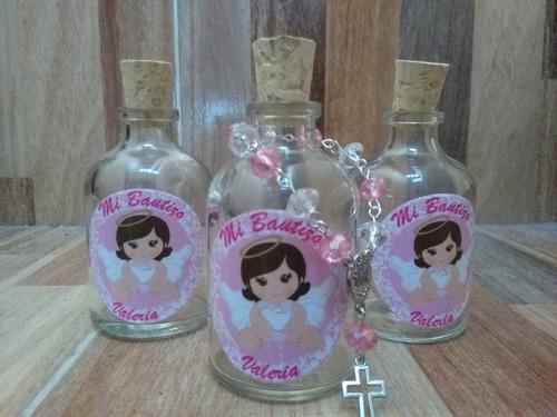 botella con denario recordatorio bautizo, primera comunion,