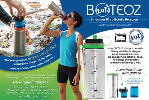 botella con filtro agua antimetales boteoz + agarradera azul