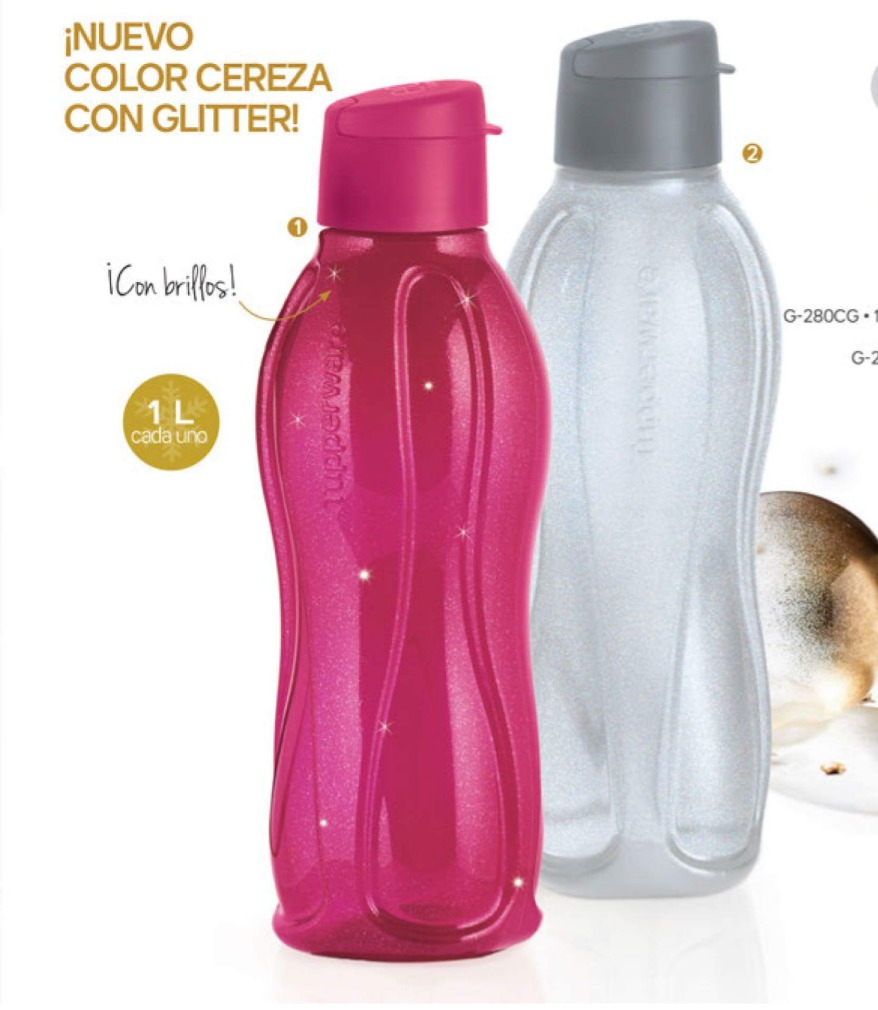 Botella de agua eco twist 1 lt tupperware con porta for Botellas tupperware amazon