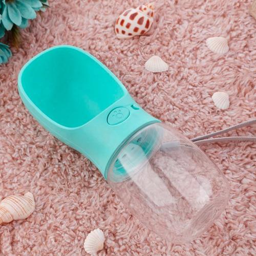 botella de agua portable para mascota 550ml azul q1031