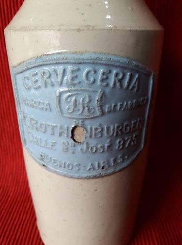 botella de cerveza - gres - cervecería f. rothenburger
