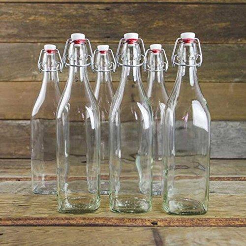 botella de cristal clara giara con tapón conjunto de 4 el c