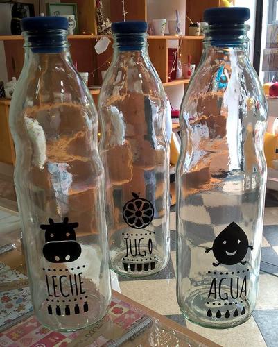 botella de vidrio con vinilo de corte - 1l - personalizada