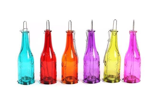 Botella de vidrio decorativa para colgar porta vela - Botellas con velas ...