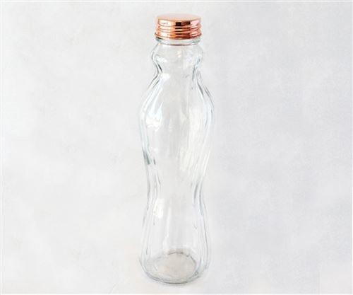 botella de vidrio facetado   con tapa cobre 500ml