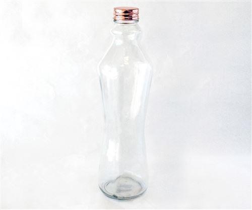 botella de vidrio para agua ,jugos,tapa cobre