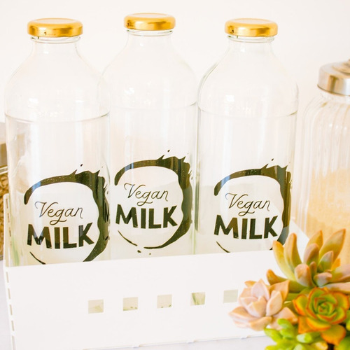 botella de vidrio para leches vegetales vegan milk