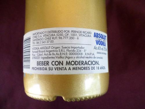 botella de vodka absolut unique edition!! vacía lindísimaa!!