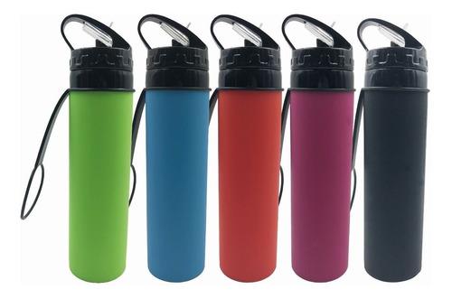 botella deportiva de silicona plegable 600ml. flexible