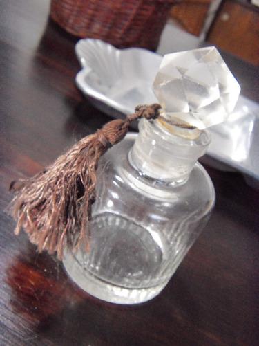 botella frasco de agua colonia perfume tapa facetada antiguo