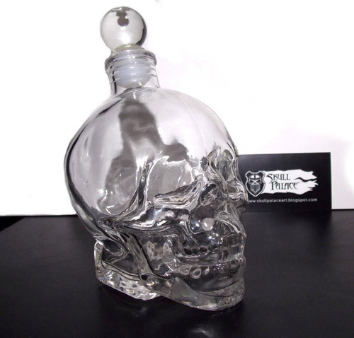 botella licorera en forma de calavera cráneo vidrio skpalace