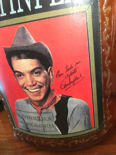 botella original brandy san marcos firmada cantinflas