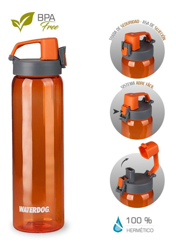 botella reutizable bpa free waterdog tritan 800ml gimnasio
