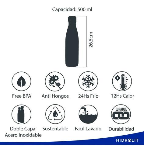 botella térmica deportiva reutilizable 500ml hidrolit varios diseños únicos! tecnología aislante 24hs frio/12hs caliente