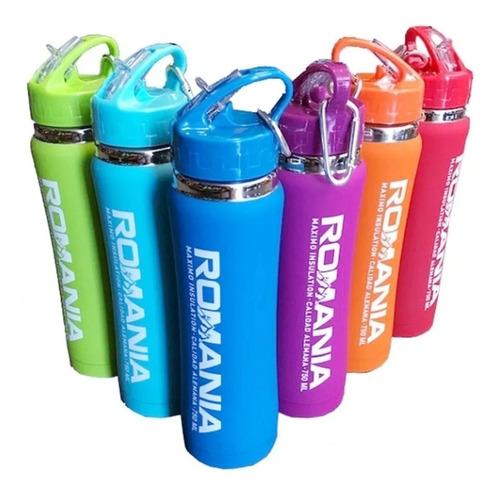 botella termica deportiva siliconada 600ml termo frio calor