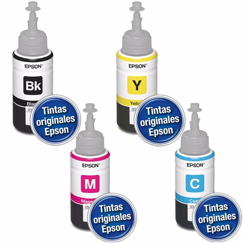 botella tinta epson t664 original 70 ml set de 4 colores