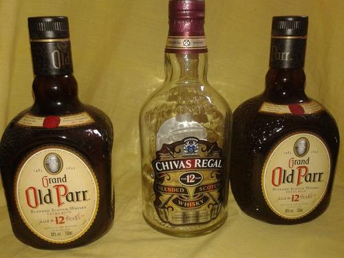 botella vacia de whisky old parr 12 años