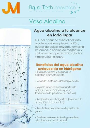 botella - vaso alcalino - jm - aqua tech - productos jm
