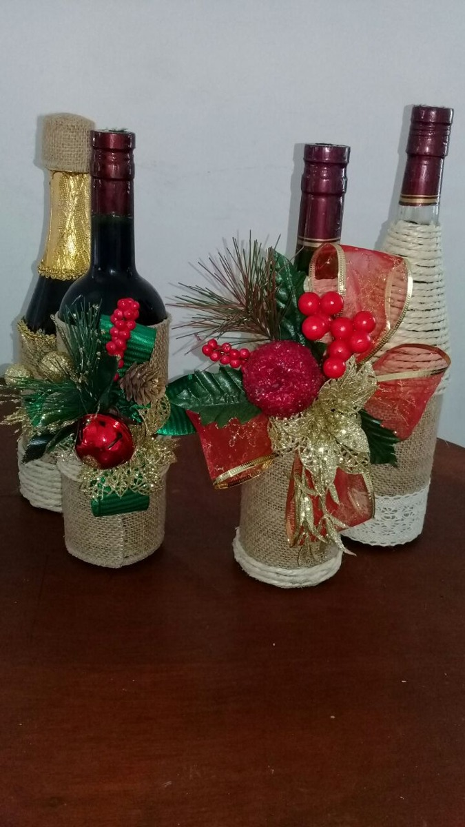 Botella vino champa a decoradas navide as en for Botellas de vidrio decoradas para navidad