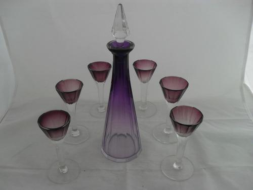 botella y seis copas cristal checoslovaco tallado color lila