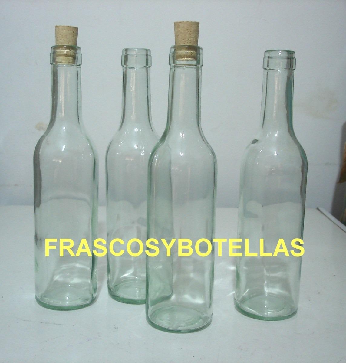 Botellas De Vidrio Burdeos 375 Cc Con Corcho X 10 17303 en