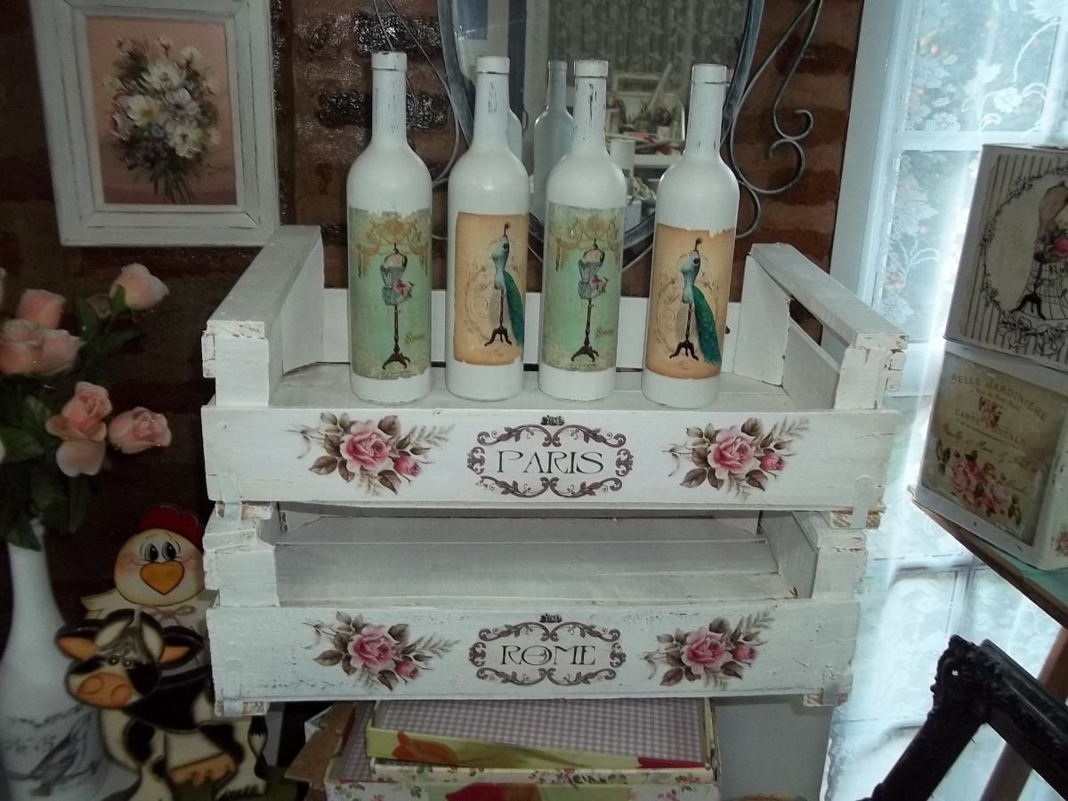 Botellas De Vidrio Decoracion Vintage Rosas Romantico 15000 En - Decoracion-romantica-vintage