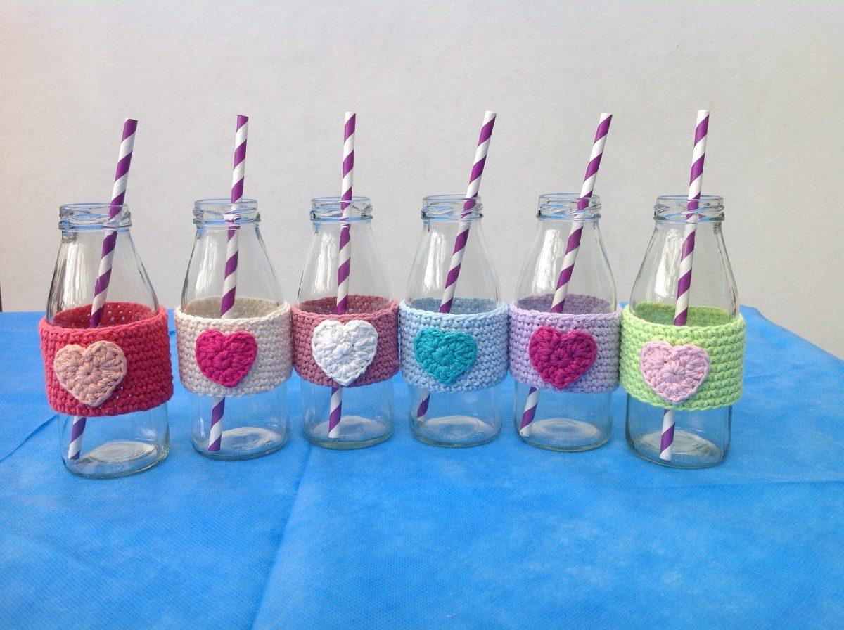 Botellas De Vidrio Decoradas A Crochet Para Souvenir 65 00 En