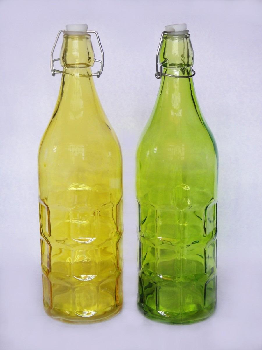 botellas de vidrio vac as con tap n 1 lt florero dulces