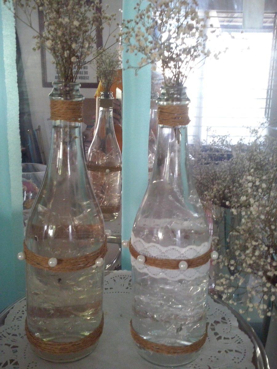 Botellas de vidrios decoradas bodas decoracion vintage - Decoracion de botellas ...