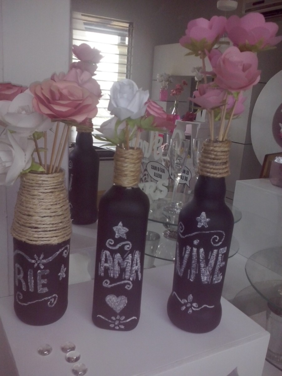 botellas de vidrios decoradas bodas decoracion vintage bs en mercado libre. Black Bedroom Furniture Sets. Home Design Ideas