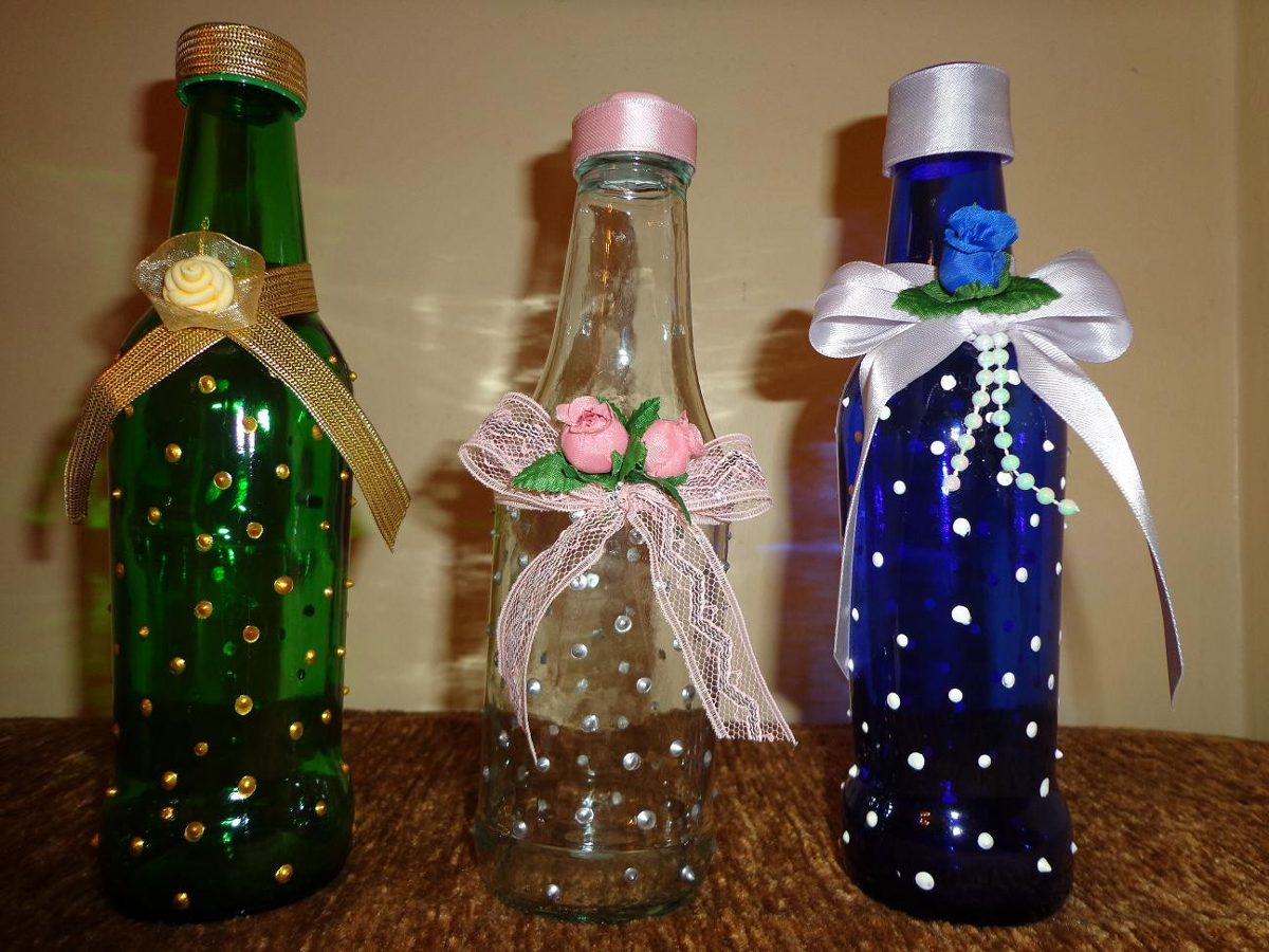 Botellas de vidrios decoradas para cualquier evento bs en mercado libre - Botellas de cristal decoradas ...
