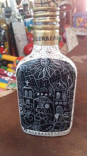 botellas decoradas 1/4 de litro artesanías mexicanas